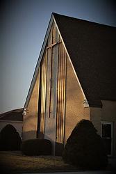 church front, cross