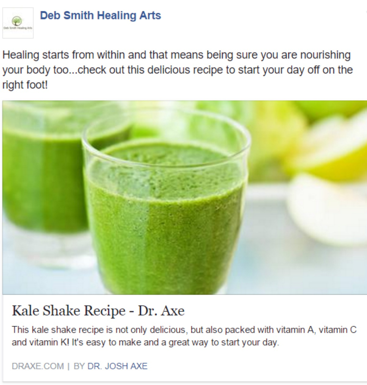 deb smith healing arts social media sample