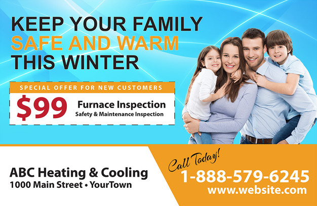 A/C Heating Direct Mail Postcard Sample 09