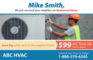 A/C Heating Direct Mail Postcard Sample 06