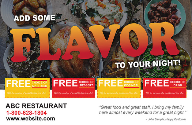 Restaurant Direct Mail Postcard Sample 07