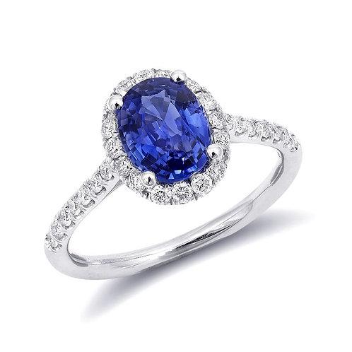 14k White Gold 1.69ct TGW Natural Blue Sapphire White Diamond Engagement Ring