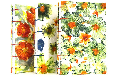 Handmade ecoprint sketchbook with coptic binding by StudioPetaBooks