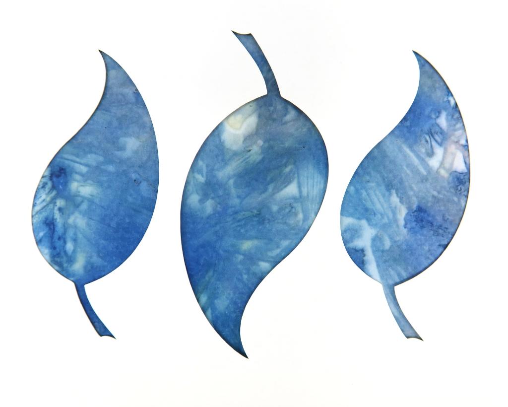 Leaf Trio Ecoprinted Blank Note Card 1