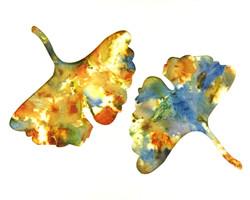 Ginkgo Leaf Ecoprinted Blank Greeting Card 2