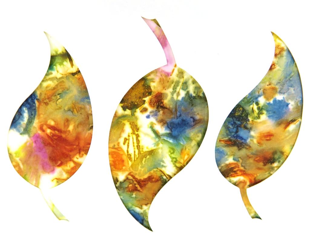 Leaf Trio Ecoprinted Blank Note Card 3
