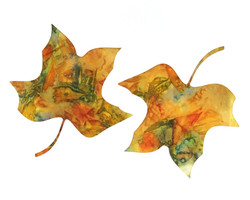 Tulip Tree Leaf Ecoprint Blank Greeting Card 2