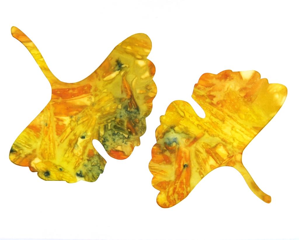 Ginkgo Leaf Ecoprinted Blank Note Card 1