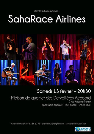 Spectacle cabaret Nantes Oriental SahaRace Airlines