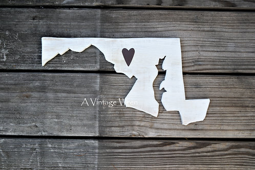 Wooden state Cutout/ Maryland Wall Art/ Maryland map/State sign/Wood sign