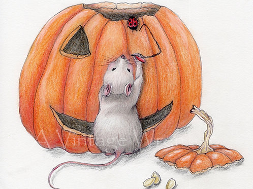 Cute Halloween Decoration/ Fall art print with Double Mat /Jack o lantern art