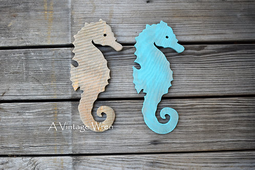 Rustic Wooden Seahorse / Wood Seahorse Wall Art / Beach Nautical Decor