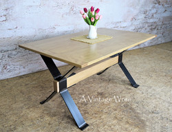 Maple Industrial Dining Table for 6