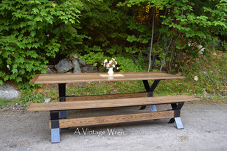 Industrial trestle table and bench set for 8