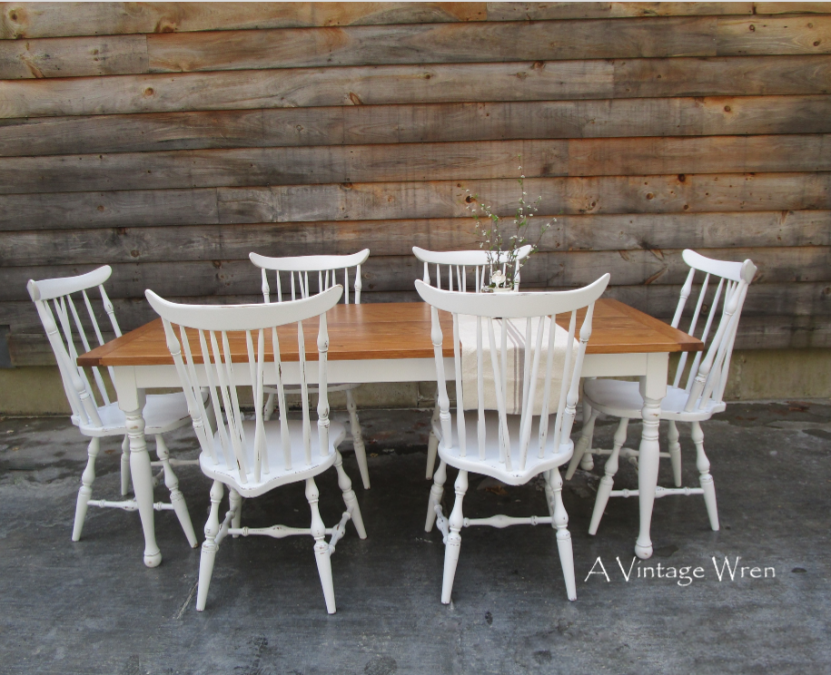 Farm table with refinished chairs