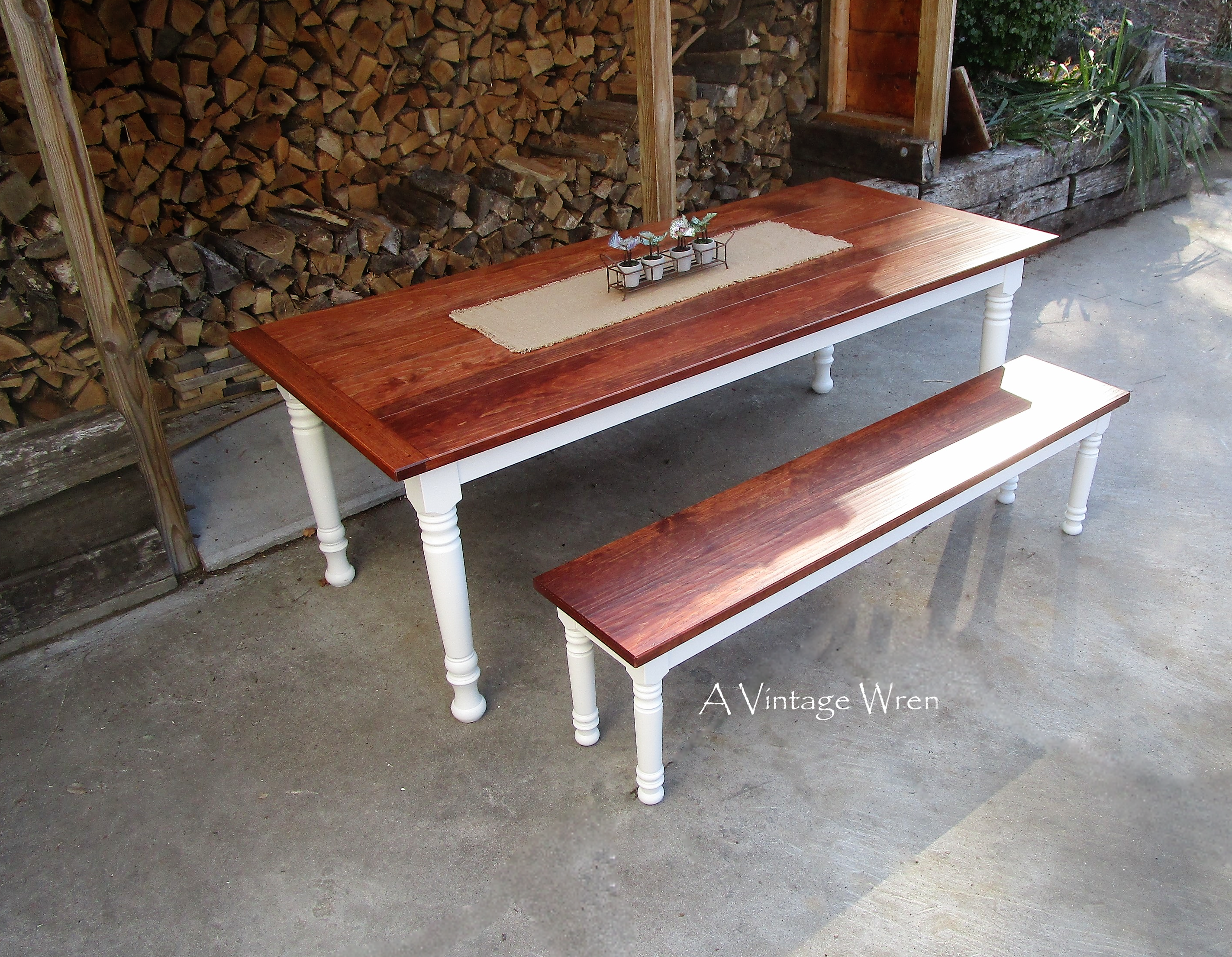 Farm Dining Table and bench set for 8