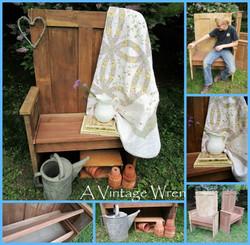 Bench made from an antique door