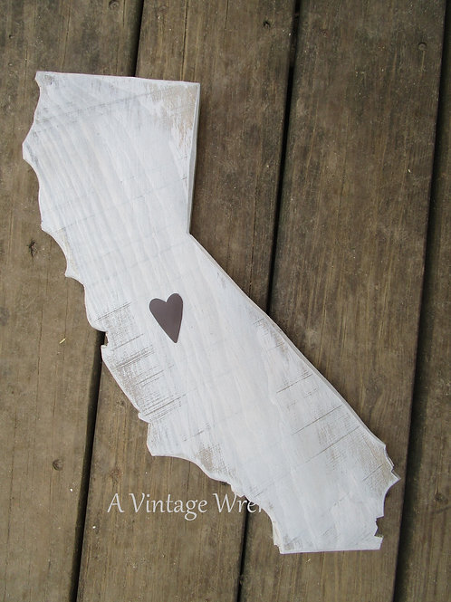 Handmade in the USA Wooden California Sign / State Cutout