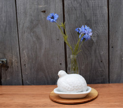 White Quail and Blue Flowers