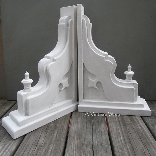 Handmade in the USA Pair of Extra Large Wood Corbels / Antique Wooden Corbels