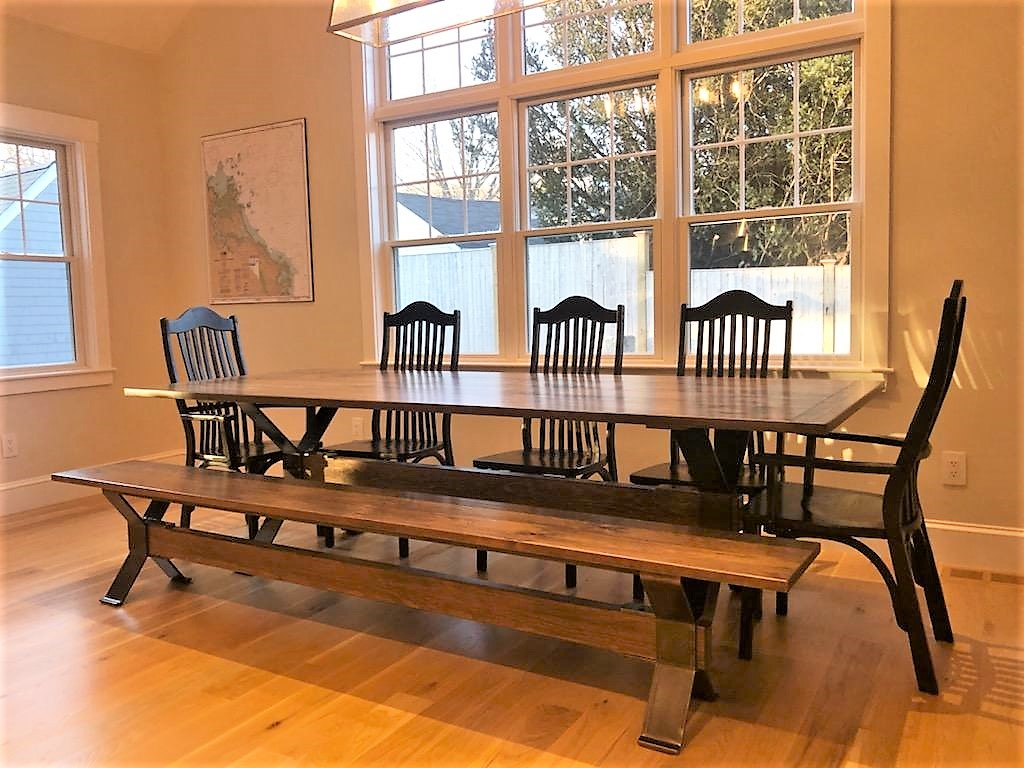 Modern Industrial Trestle Dining Table for 10