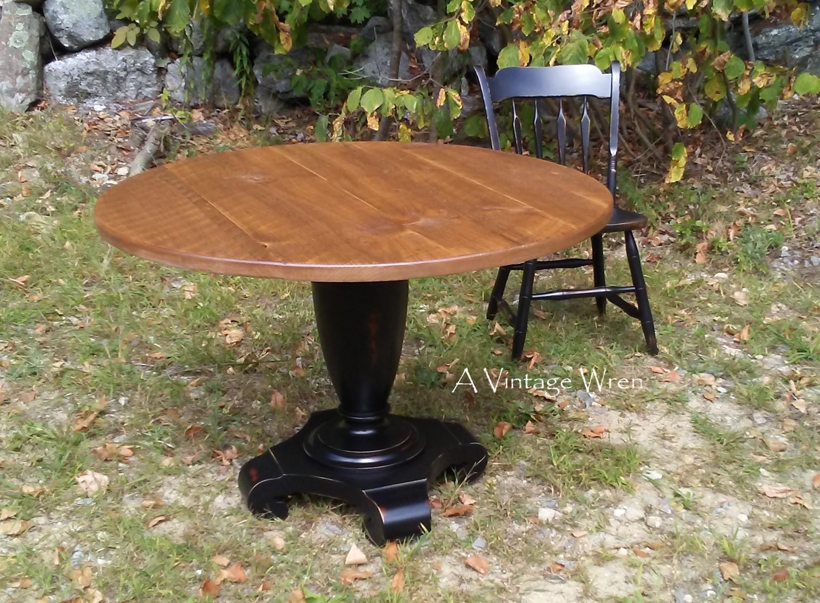 Reclaimed Pedestal Base with Circular Sawn Eastern White Pine top