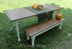 Farmhouse table with distressed base