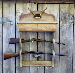 Rustic Antler Gun Rack Shelf