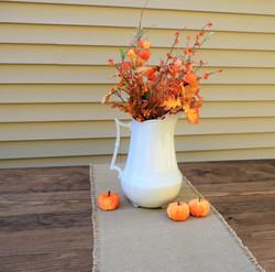 Ironstone pitcher with fall foliage