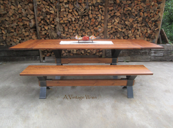 Extendable Industrial Dining Table for 10