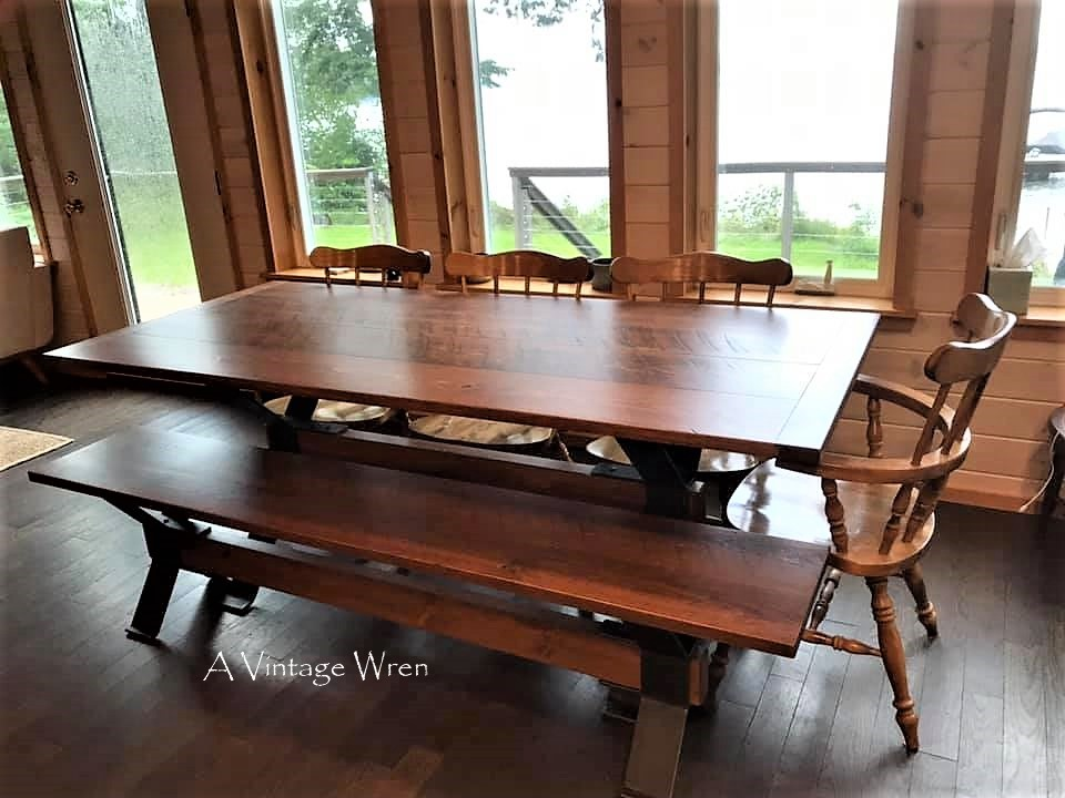 Trestle Dining Table and Bench for 8
