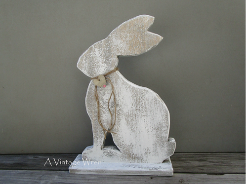 Handmade in the USA Large Rustic Easter Bunny/ Wood Bunny