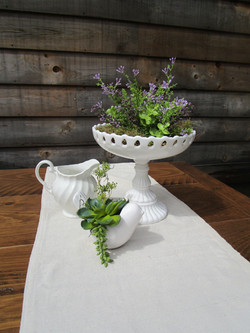 White Compote with ironstone pitcher