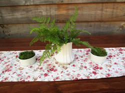 White ironstone with ferns and moss