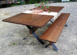 Industrial Trestle Table and Bench