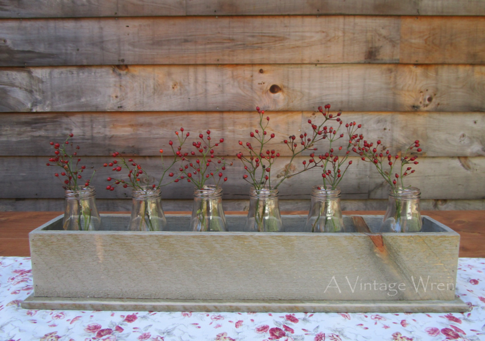 Rustic Wood Centerpiece Box with Milk Bottles