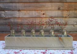Rustic Wood Centerpiece Box with Milk Bottles