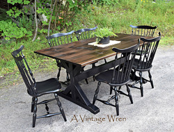 Wood X Trestle Table with Black Painted Base