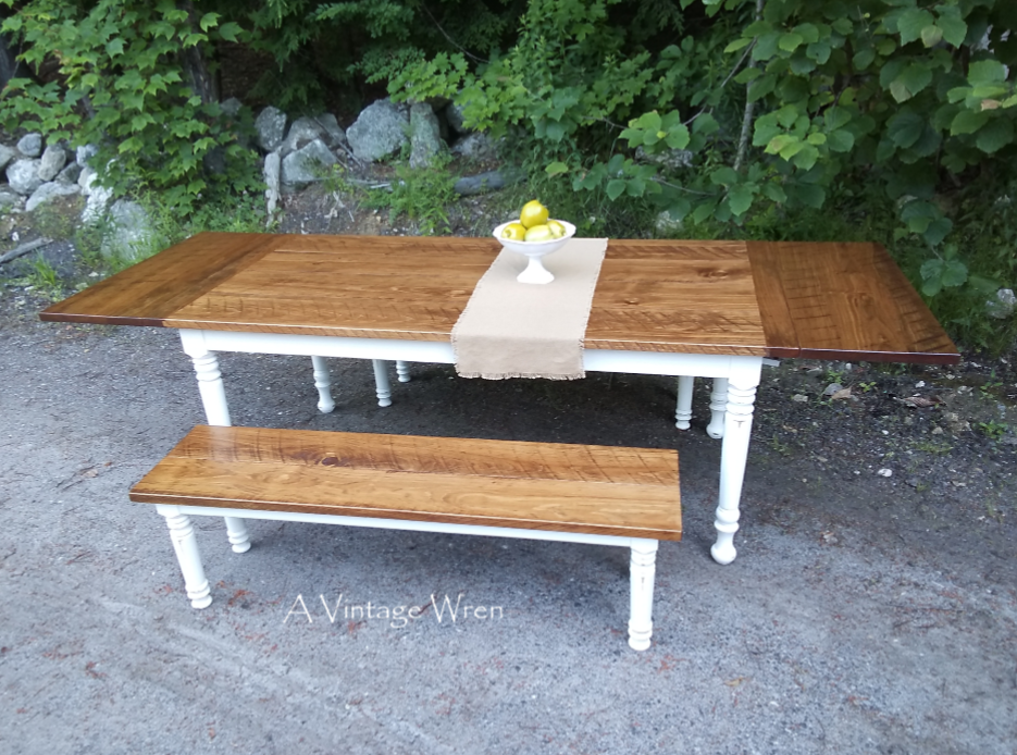 Extending farm table dining set