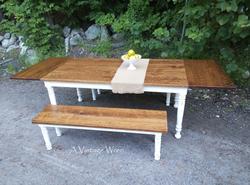 Extending farm table dining set