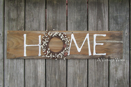 Handmade in the USA Wooden HOME sign with wreath