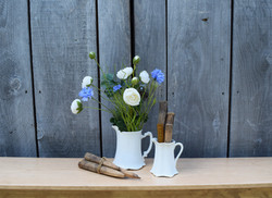 Ironstone pitchers with antique wood pegs