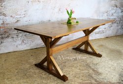 Counter Height Wood X Trestle Dining Table for 8