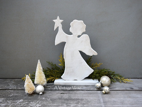 Handmade in the USA Rustic Wooden Angel / Christmas Angel with Star