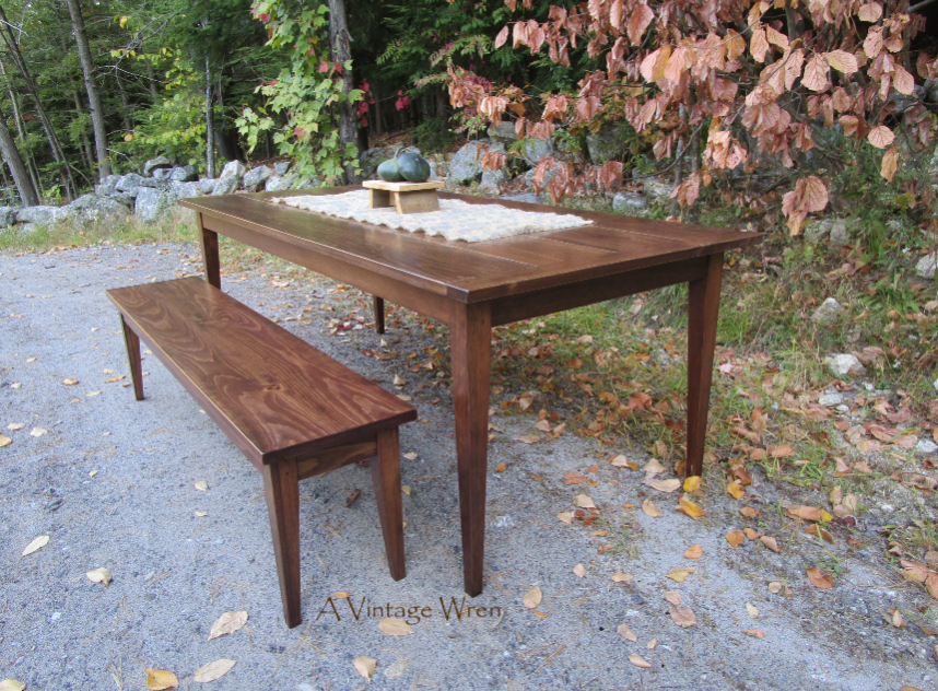 Shaker dining table and bench