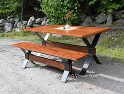 Industrial Dining Table and Bench for 4
