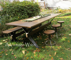 Industrial Trestle Dining Table Set for 8