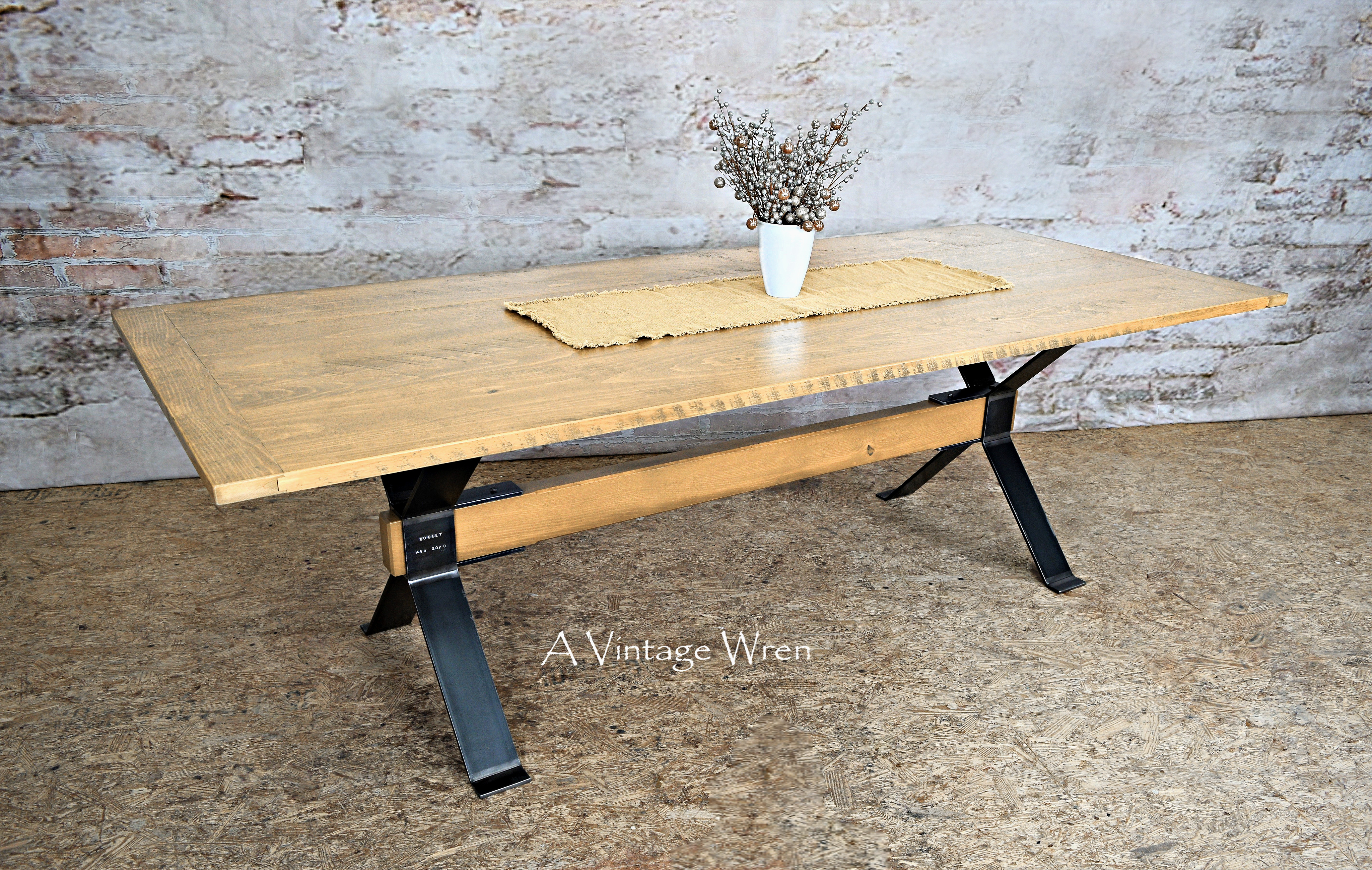 Industrial Trestle Table for 8