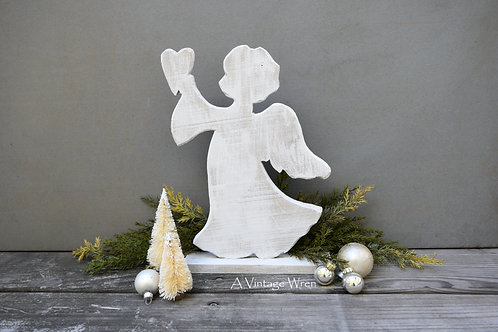 Handmade in the USA Rustic Wooden Angel / Christmas Angel with Heart