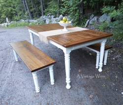 Farm table for 6 with matching benches